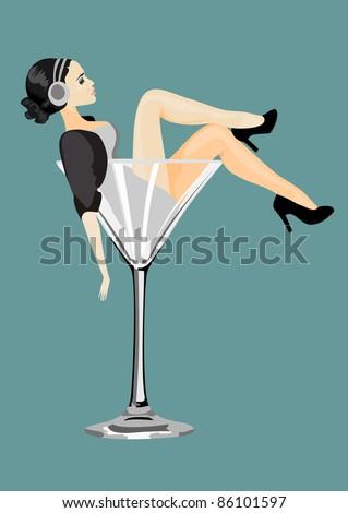 Sexy woman in martini glass - stock vector