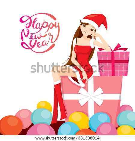 Sexy Woman In Santa Costume Sitting On Big Gift Box, Happy New Year, Merry Christmas, Xmas, Objects, Festive, Celebrations - stock vector