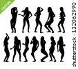 Sexy woman silhouettes vector set 2 - stock vector
