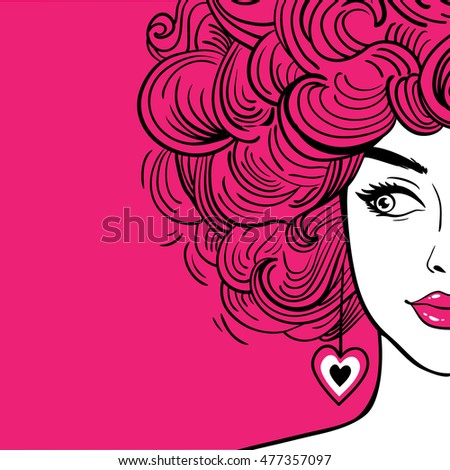 Sexy woman with pink curly hair and pink lips looking to the side. Vector hand drawn background in pop art retro comic style.