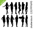 Sexy women silhouettes vector set 1 - stock photo