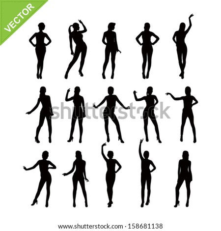 Sexy women silhouettes vector set 4 - stock vector
