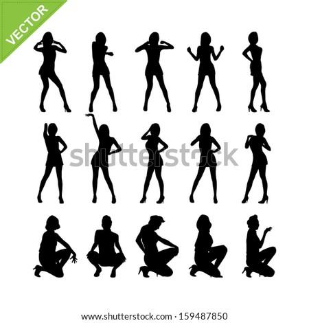 Sexy women silhouettes vector set 8 - stock vector