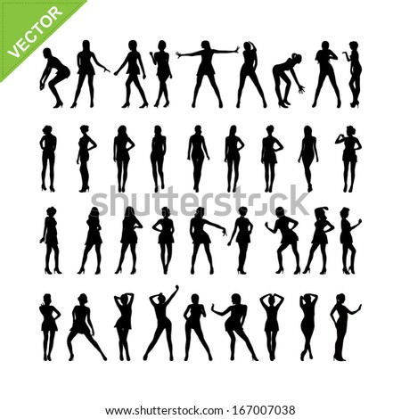 Sexy women silhouettes vector set 16