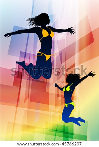 Sexy Young Women Jumping on Abstract Background Original Vector Illustration - stock vector
