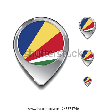 Seychelles flag map pointer. 3d Map Pointer with flag glossy button style on gray background - stock vector