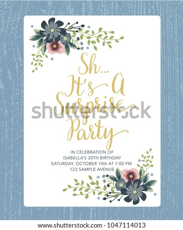 Sh surprise birthday party golden text stock vector 1047114013 sh its surprise birthday party with golden text and floral design white card vector bookmarktalkfo Images