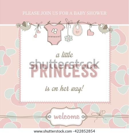 shabby chic baby girl shower card, vector illustration - stock vector