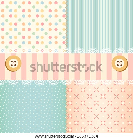 Shabby chic pastel patterns and seamless backgrounds. Ideal for printing onto fabric and paper or scrap booking. - stock vector