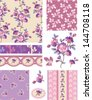 Shabby Chic Purple Floral Vector Seamless Patterns. Use as fills, digital paper, or print off onto fabric to create unique items. - stock vector