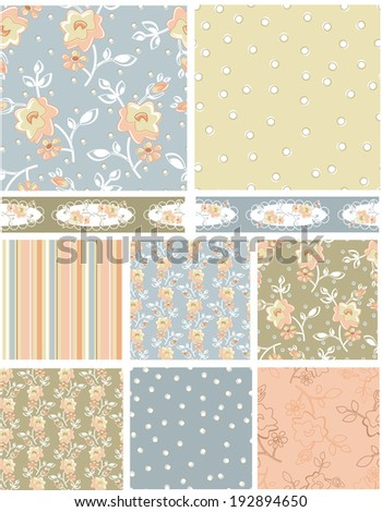 Shabby Chic Rose Floral Vector Patterns.  Use as pattern fills to create stunning items for art and craft projects. - stock vector