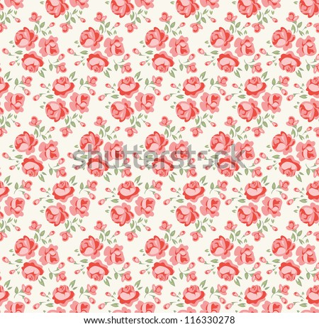 Shabby chic rose pattern. Scrap booking floral seamless background. - stock vector