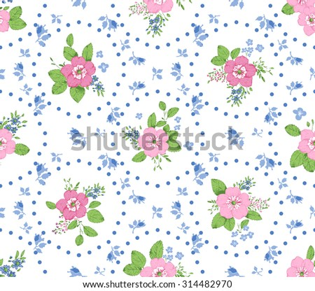 Shabby chic roses seamless pattern, classic floral background  - stock vector