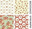 Shabby Chic set, 4 Vintage rose patterns. Seamless vector. Rose wallpaper - stock vector