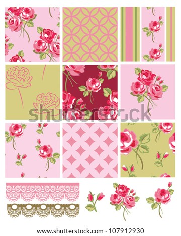 Shabby Chic Vector Rose Seamless Patterns.  Use to create digital paper or print onto fabric for home furnishings or quilts. - stock vector