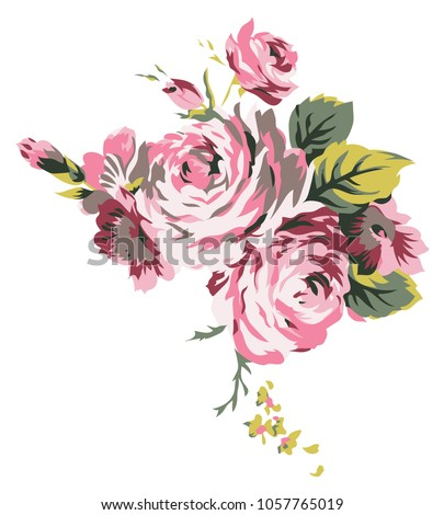 Shabby Chic Vintage Roses Classic Chintz Floral Drawing Design Element For Web And Print