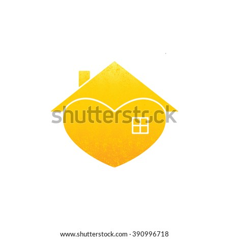 Shabby golden colored house with in the shape of heart with roof and chimney on it and big window isolated on white background. New house concept. House logo template - stock vector