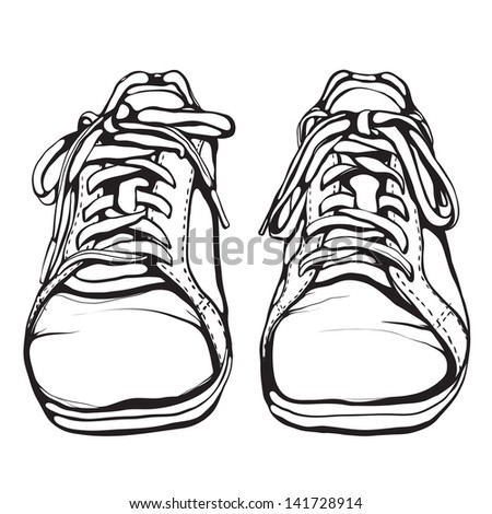 Shabby Running Shoes in Black Ink. Sports footwear vector illustration. EPS8. - stock vector