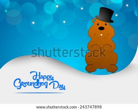 Shaded Happy Groundhog Day text with marmot in gradient background - stock vector