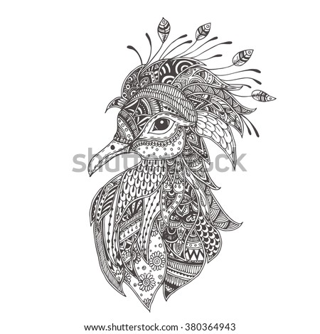 Shadoof Or Crowned Pigeon With Ethnic Floral Doodle Pattern Coloring Page