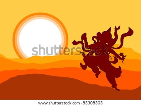 Shadow art ganesha in sunset - stock vector