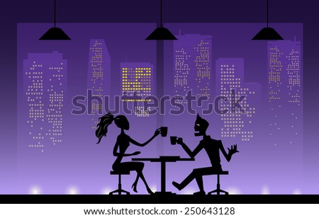 Shadow couples  at night. - stock vector