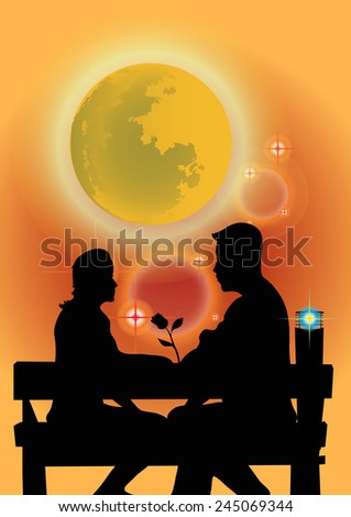 Shadow couples sitting in the park in a orange background. - stock vector
