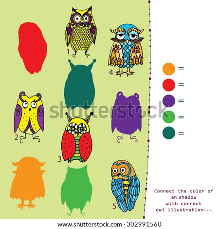 Shadow game - connect the color with appropriate owl illustration