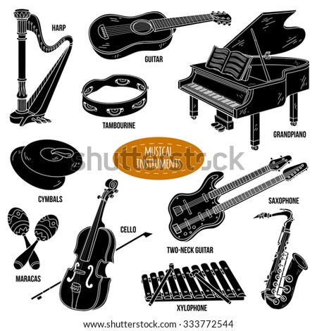 Shadow set with musical instruments, vector cartoon collection - stock vector