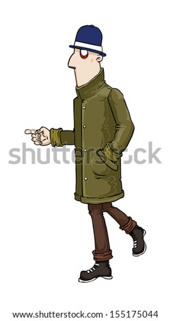 shady suspicious character with top hat and log coat pointing, vector illustration