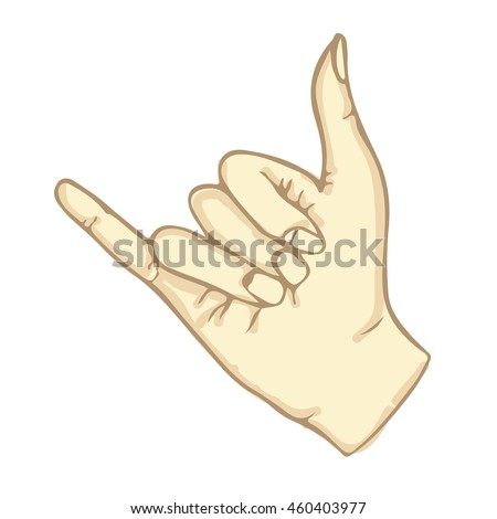 Shaka gesture. Nice symbol with little and big finger. Vector color illustration in a realistic 3d style. Object hand in Doodle. Isolated on white background. Eps10. For different design.