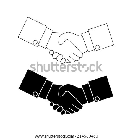 Shake hand Icon Vector Black and white - stock vector