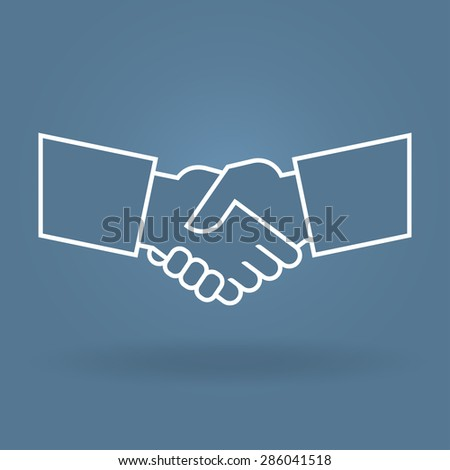 Shake hand  line icon - stock vector