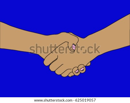 shake hand together for Business cooperation on blue background.
