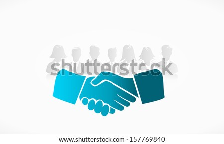 Shake hands with group of people in the background  - stock vector
