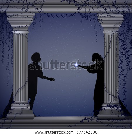 Shakespeare`s play Romeo and Juliet at night, romantic date, silhouette, love story, vector - stock vector