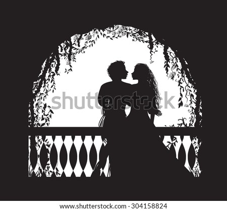 Shakespeare`s play Romeo and Juliet on balcony, romantic date, silhouette, love story, vector - stock vector