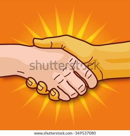 Shaking hands and economic cooperation - stock vector