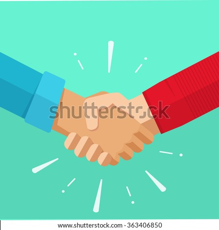 Shaking hands business vector illustration with abstract rays, symbol of success deal, happy partnership, greeting shake, casual handshaking agreement flat sign design isolated on green background - stock vector