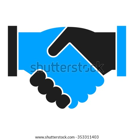 Shaking hands. Deal. Business icon flat. blue and black