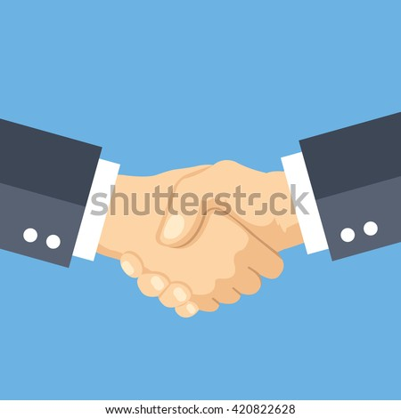 Shaking hands flat design concept. Handshake, business agreement, bet, partnership concepts. Two hands shaking each other. Vector illustration isolated on blue background - stock vector