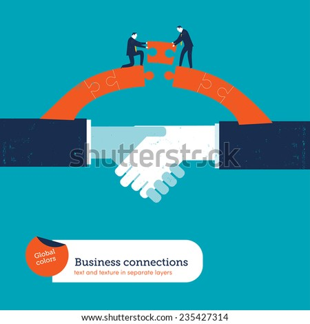 Shaking hands with two businessmen on a puzzle bridge. Vector illustration Eps10 file. Global colors. Text and Texture in separate layers. - stock vector