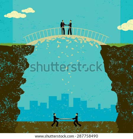 Shaky business agreement Two businessmen in a shaky business agreement. If the deal falls apart, they have a safety net to catch them if they fall.  - stock vector