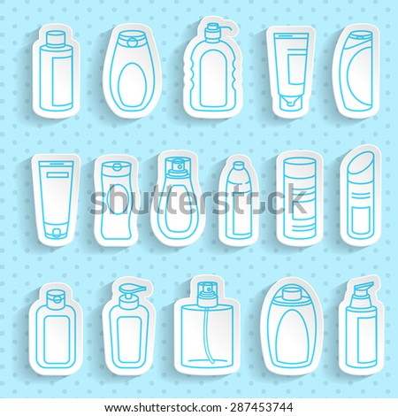 Shampoo and Bath Lotion Bottles. Paper stickers set with transparent shadow. Different types of shampoo bottles. Smartly grouped. - stock vector