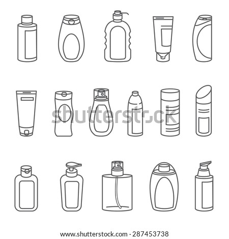 Shampoo and Bath Lotion Bottles. Set of Outline Icons. Different types of shampoo bottles. Smartly grouped. - stock vector