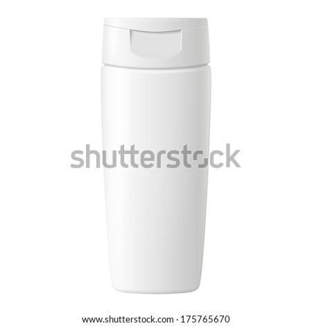 Shampoo, Gel Or Lotion White Plastic Bottle With Lid On White Background Isolated. Ready For Your Design. Product Packing Vector EPS10  - stock vector