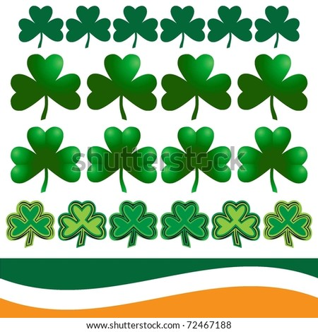 Shamrocks and Flags of Ireland - stock vector