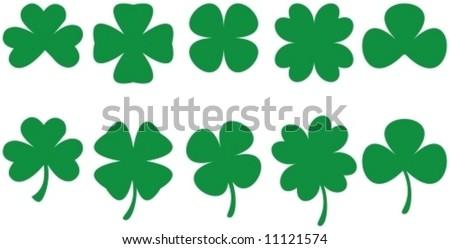 SHAMROCKS - Shamrock shapes for St. Patrick's Day designs. Vectorial drawing. - stock vector