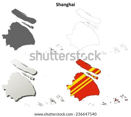 Shanghai blank outline map set - stock vector