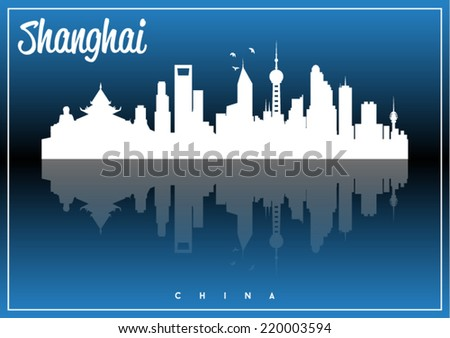 Shanghai, China, skyline silhouette vector design on parliament blue and black background. - stock vector